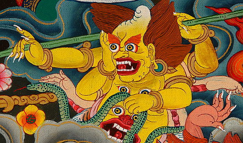 Yellow Demon Attacking Buddha.