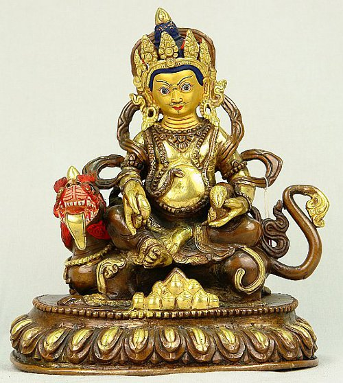Jambhala on Dragon - gold-plated statue.