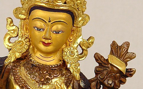 Manjushri - Detail with book on lotus.