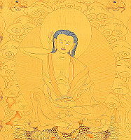 Milarepa. Detail from Thangka.