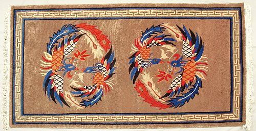 Two dragon medallions Tibetan carpet.
