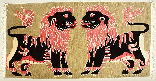 Two snow lions - Tibetan carpet.