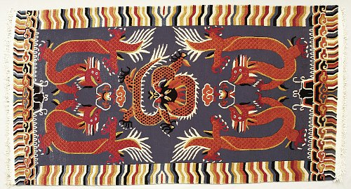 Tibetan Carpet With Five Dragons