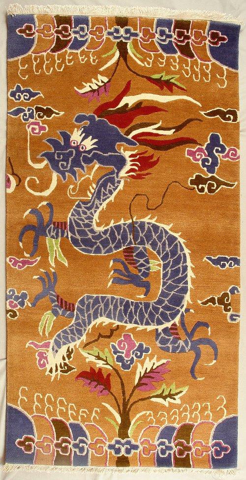 Traditional Tibetan Dragon Rug From Nepal