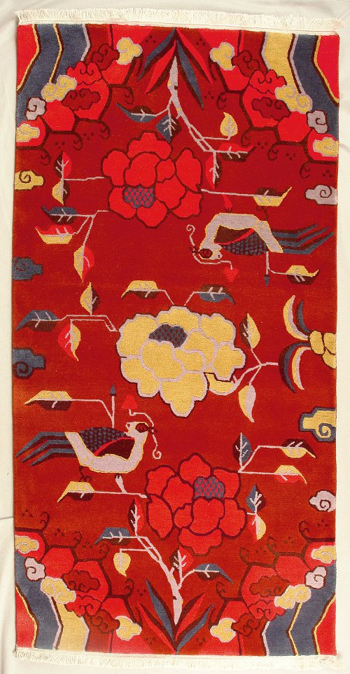 Traditional Tibetan Rug with Flower and Bird.