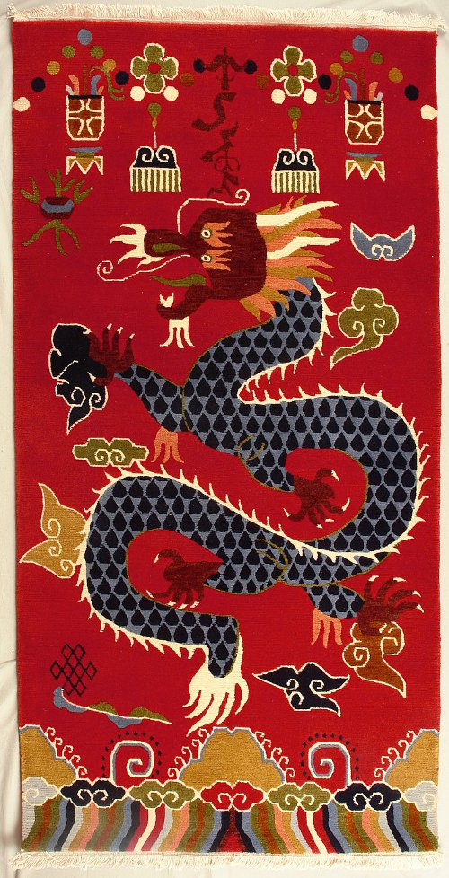 Traditional Tibetan Dragon Rug from Nepal.