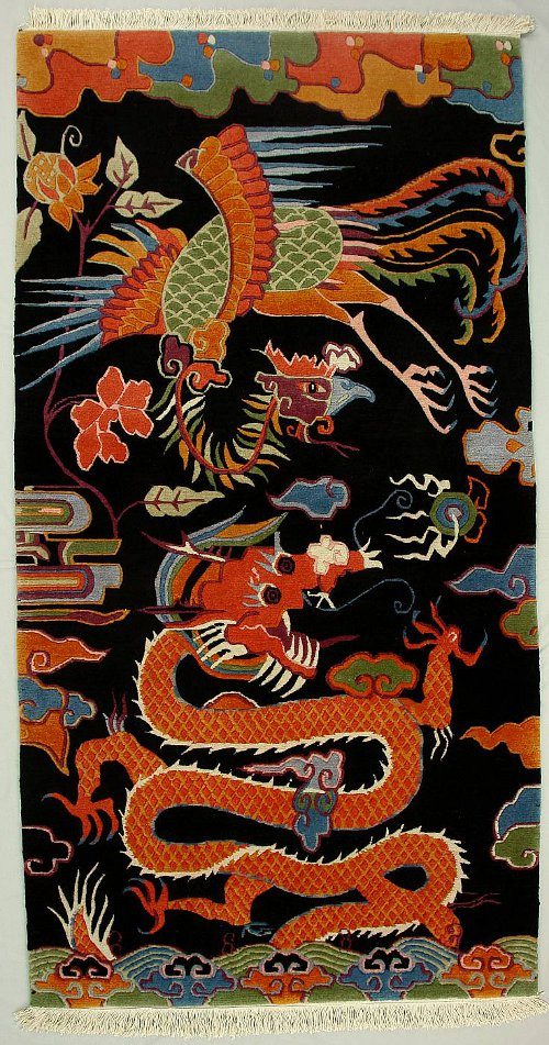 Tibetan Phoenix and Dragon Carpet