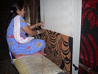Tibetan rug on the loom.