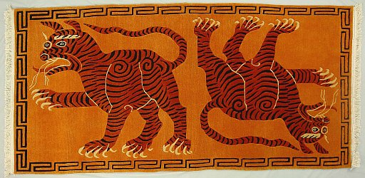 Tibetan Rug of Two Tigers