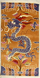 Tibetan traditional rug with dragon design.
